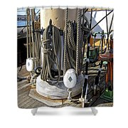 Maritime Pulley And Rope Work Shower Curtain
