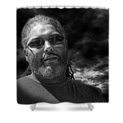 Mark In Monochrome Shower Curtain