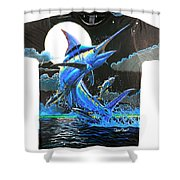 Marlin Moon Mens Shirt Shower Curtain