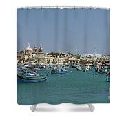Marsaxlokk Harbour Shower Curtain