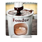 Marshmallow Dipped In Chocolate Fondue Shower Curtain
