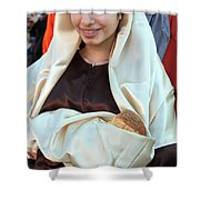 Mary And Baby Jesus At The Christmas March In Bethlehem Shower Curtain