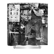 Mary Loomis, Radio School Operator Shower Curtain by Science Source