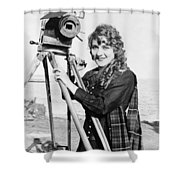 Mary Pickford (1893-1979). Born Gladys Mary Smith. American Actress, With A Movie Camera On A Beach, C1916 Shower Curtain