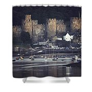 Massive Eight-towered Castle Looms Shower Curtain