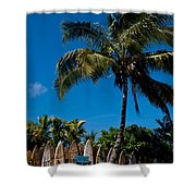 Maui Surfboard Fence - Oldest Section Shower Curtain