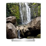 Mauis Wailua Falls And Rocks Shower Curtain