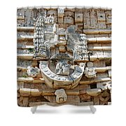 Mayan Architectural Details At Uxmal Mexico Shower Curtain