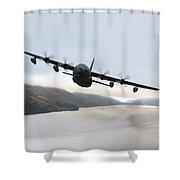 Mc-130p Combat Shadow Over Scotland Shower Curtain