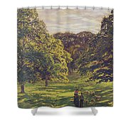 Meadow Scene  Shower Curtain by John William Buxton Knight