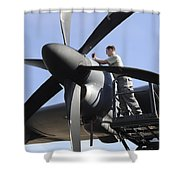 Mechanic Finishes Moving An Engine Shower Curtain