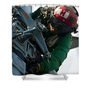 Mechanic Inspects An Mh-60r Sea Hawk Shower Curtain by Stocktrek Images