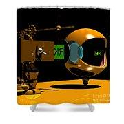 Mechanical Oculist Green Shower Curtain
