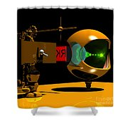 Mechanical Oculist Red Shower Curtain
