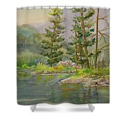 Medicine Lake Jasper Shower Curtain