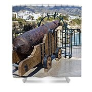 Medieval Cannon At The Balcon De Europa Shower Curtain