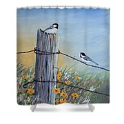 Meeting At The Old Fence Post Shower Curtain