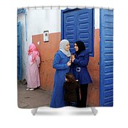 Meeting In Blue Shower Curtain