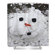 Melting Snowman Shower Curtain