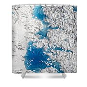 Meltwater Lakes On Hubbard Glacier Shower Curtain