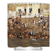 Men And Boys Bathe At An Ancient Ghat Shower Curtain