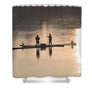 Men On A Raft Fishing Shower Curtain