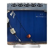 menorca st - A warehouse door in Es Castell Menorca ready to keep local tradicional boats llauts Shower Curtain