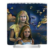 Mermalien Family Odyssey Shower Curtain