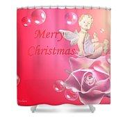 Merry Christmas Cherub And Rose Shower Curtain