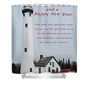 Merry Christmas Lighthouse Shower Curtain
