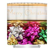 Merry Christmas Message With Colourful Bows Shower Curtain