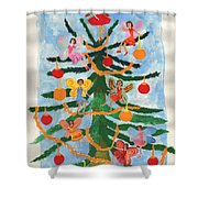 Merry Christmas Tree Fairies In Progress Shower Curtain