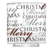 Merry Christmas Words Shower Curtain