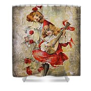 Merry Making Antique Girls In Red And White Grunge Shower Curtain