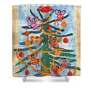 Merry Xmas Tree Fairies Shower Curtain