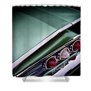 Metalic Green Impala Wing Vingage 1960 Shower Curtain by Douglas Pittman