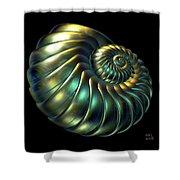 Metallic Nautiloid Shower Curtain
