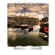 Mevagissy Harbour Shower Curtain