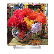Mexican Paper Flowers And Talavera Pottery Shower Curtain