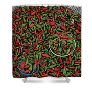 Mexican Peppers At An Open Air Market Shower Curtain
