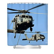 Mh-60s Sea Hawk Helicopters In Flight Shower Curtain