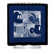 Mickey In Negative Deep  Blue Shower Curtain