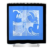 Mickey In Negative Light Blue Shower Curtain