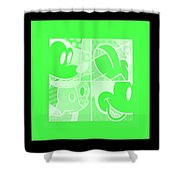 Mickey In Negative Light Green Shower Curtain