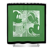 Mickey In Negative Olive Green Shower Curtain