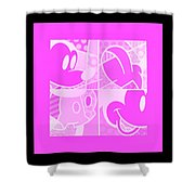 Mickey In Negative Pink Shower Curtain