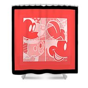 Mickey In Negative Red Shower Curtain