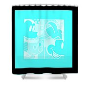Mickey In Negative Turquois Shower Curtain