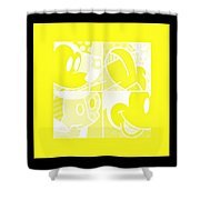 Mickey In Negative Yellow Shower Curtain