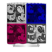 Mickey In Quad Colors Shower Curtain